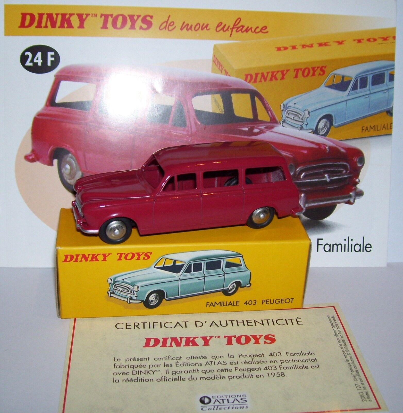 DINKY TOYS ATLAS PEUGEOT 403 FAMILY RED 1 43 43 43 REF 24F IN BOX 70b1d7