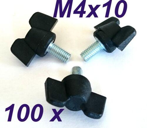 100 Stück M4x10mm Flügelschrauben schwarz Kunststoff//Stahl stabile Ausführung