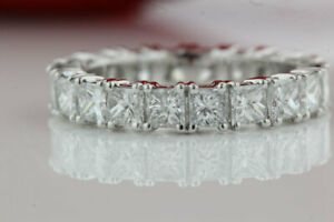 4.00 Ct Princess Moissanite Engagement Eternity Band Solid 18K White Gold Ring 7