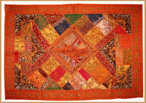 SEQUIN-BEAD-ZARDOZI-WORK-HAND-EMBROIDERED-ANTIQUE-WALL-TAPESTRY-THROW-FROM-INDIA