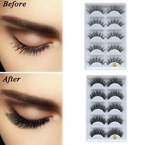 ccea96093fa 5 Pairs 3D Natural Faux Mink False Eyelashes Volume Effect Long ...