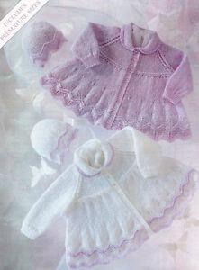 Baby-Prem-Matinee-Coats-amp-Hat-12-034-20-034-DK-Knitting-Pattern