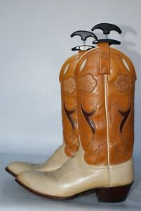 28285628c886 Ralph Lauren Polo Western 2 tone leather cutout cowboy boots New ...