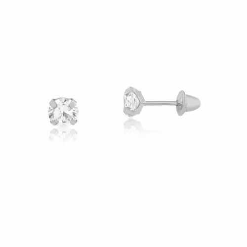 18k Solid White Gold Cubic Zircon 2.5 mm Push Back Stud Earrings Babies Infants