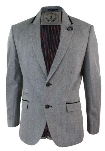 Da Uomo Grigio Nero Herringbone in tweed Blazer MONTATO Smart Casual Retrò VINTAG
