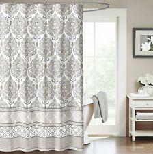 Black Grey White Embossed Fabric Shower Curtain Floral Damask Design