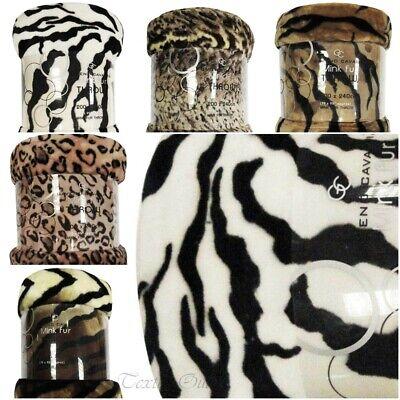 Animal Print Faux Fur Large Mink Throw Warm Fleece Bed Sofa Blanket All Sizes Uk