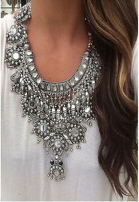 New Design women silver trendy long bib Statement bohemian heavy necklace collar