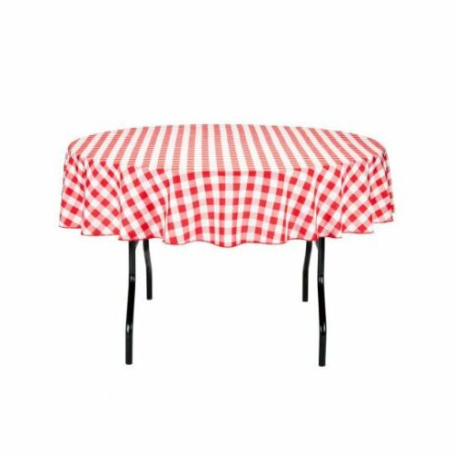 70 in Round Polyester Tablecloth Gingham Checkered Party Event Picnic Wholesale