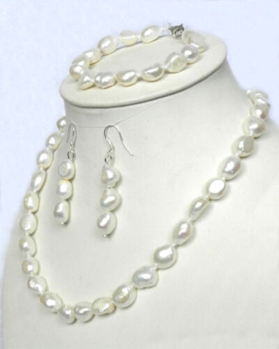 "Real 10-12mm Natural 925 White Akoya Pearl Necklace Bracelet Earrings 18/"" set"