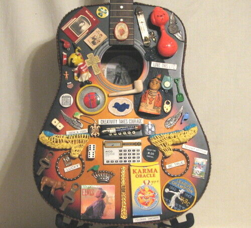 UNIQUE VINTAGE GUITAR ART - COMPLETELY DECORATED with WHIMSICAL VINTAGE ITEMS