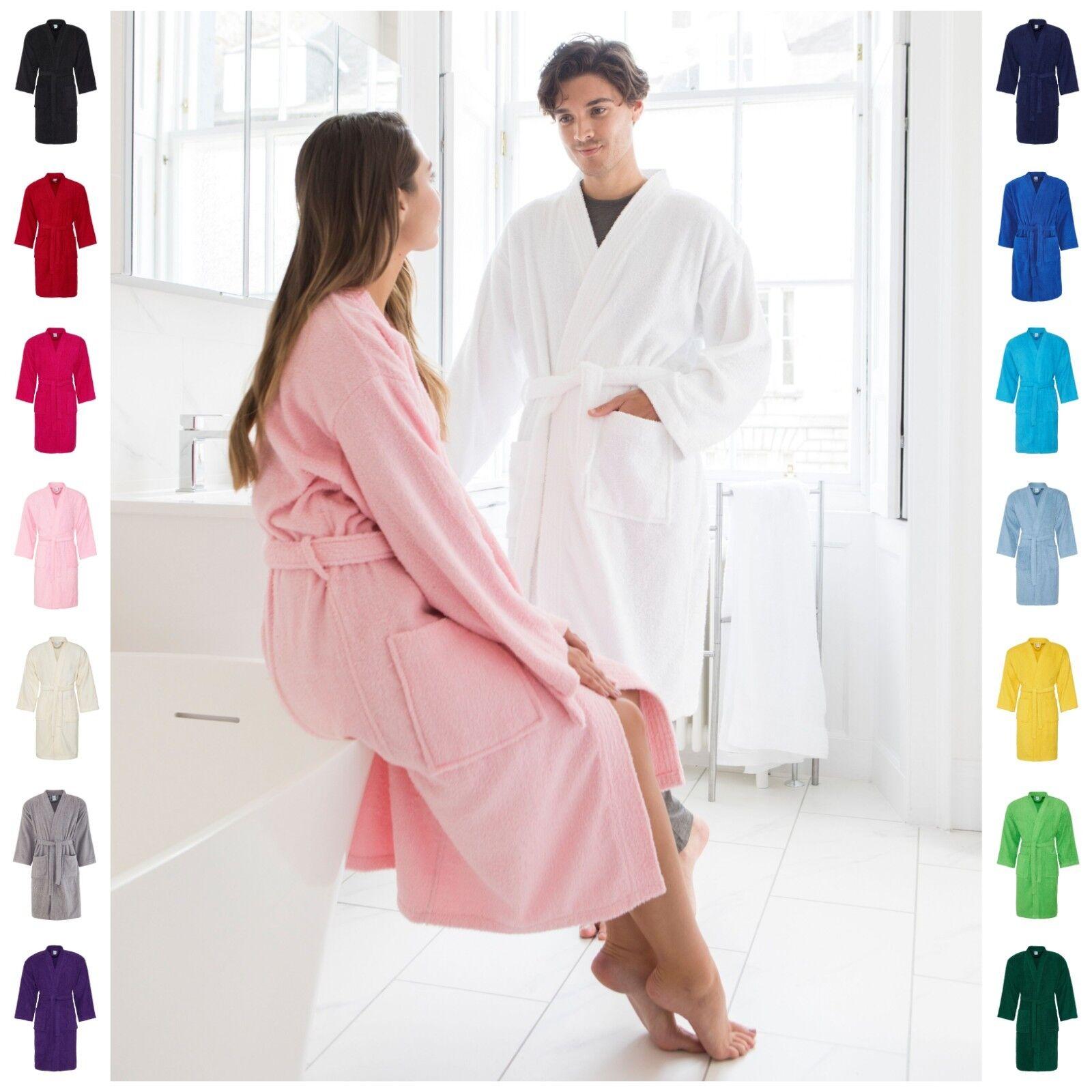 Adult Men Women 100% Cotton Bath Robe Towelling Dressing Gown Soft Towel Kimono