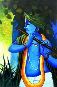 Details about Lord Krishna Hindu God Beautiful Poster Rare attractive 12