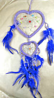 Dream Catcher Replica Beaded Heart Shaped Purple W/ Feathers
