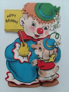 1940-50s-Vtg-Clown-w-Fold-Out-PUPPY-Dog-Dbl-Side-Sterling-BIRTHDAY-GREETING-CARD