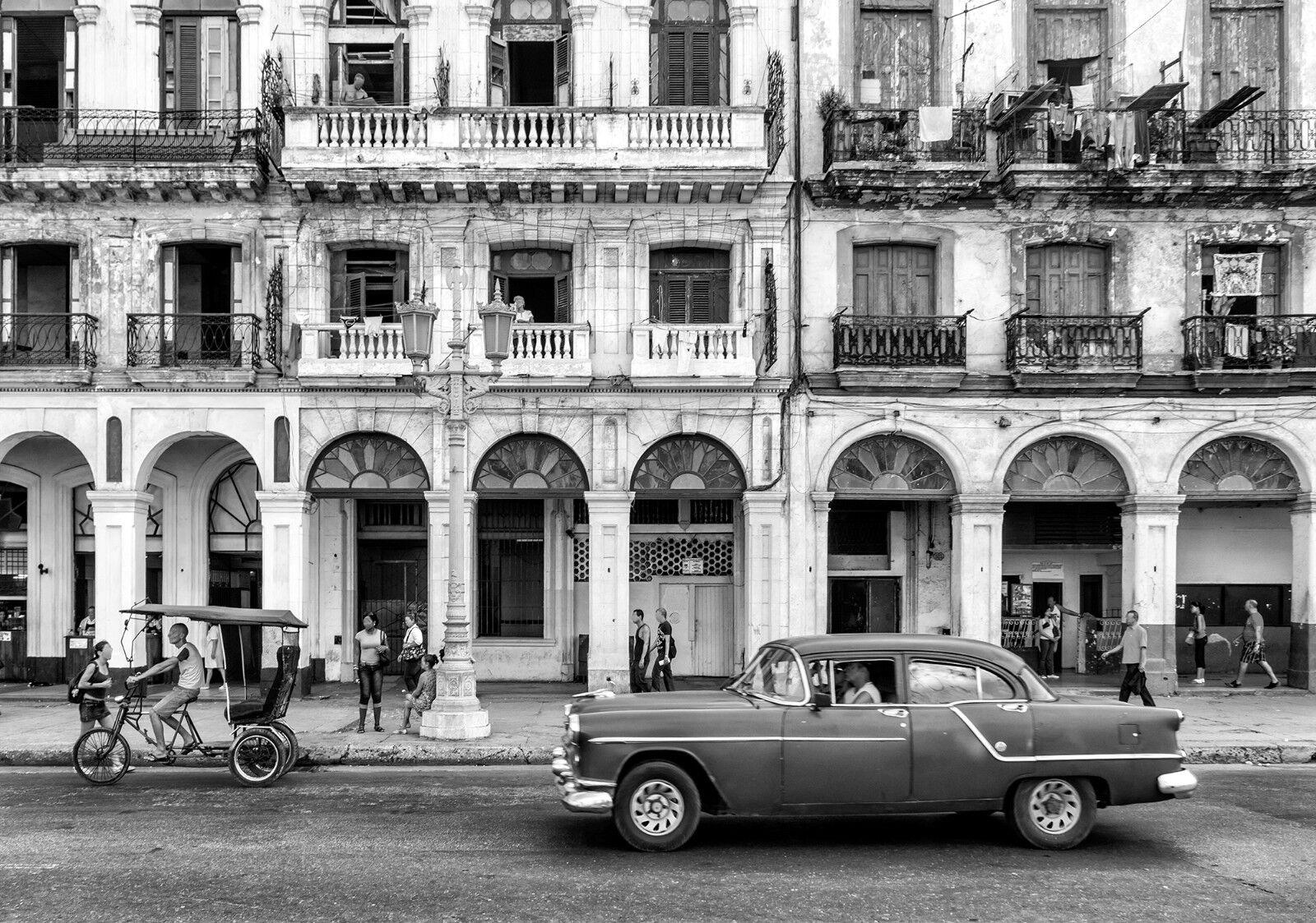 VLIES Fototapete-HAVANNA-(12673)-Kuba Oldtimer Malecón Stadt Insel Altstadt City