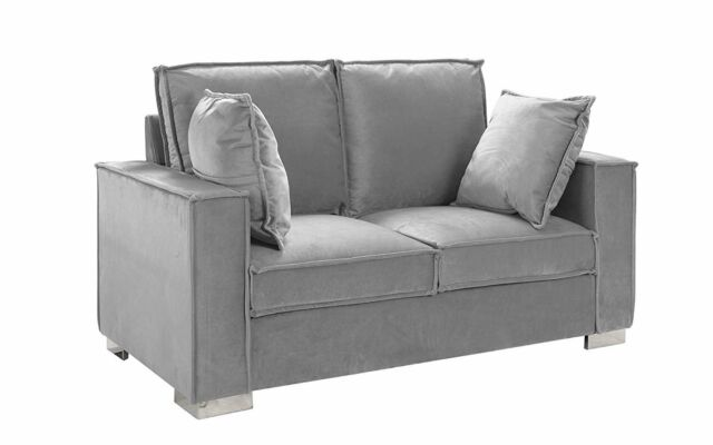 Classic Brush Microfiber Sofa, Small Space Loveseat Couch, Light Grey