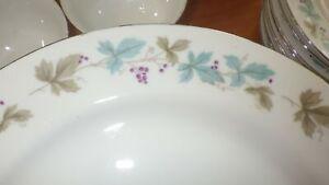 Vintage Fine China Japan Dinnerware Set Blue Green Purple Grape Leaves EUC 61pcs