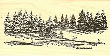 WINTER Pine Trees Landscape Wood Mounted Rubber Stamp NORTHWOODS O6298 New