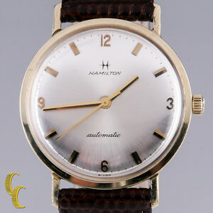 Hamilton-Men-039-s-14K-Yellow-Gold-Automatic-Watch-w-Brown-Leather-Band