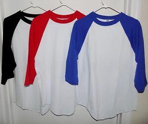 NEW-PRO-5-T-SHIRT-3-4-RAGLAN-SHIRT-BASEBALL-WHITE-RED-BLACK-S-M-L-XL-MEN