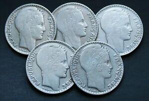 Lot-de-5-Pieces-Argent-France-10-Francs-Turin-Annees-Variees-1929-1939