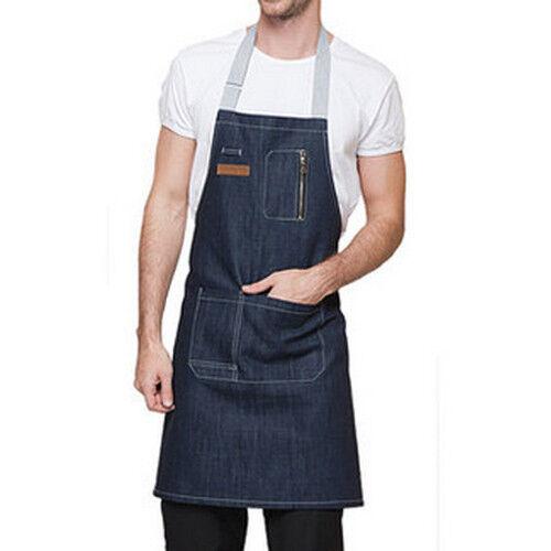 Blue//Black Denim Bib Apron with Pocket Strap Barber Barista Florist Chef Uniform