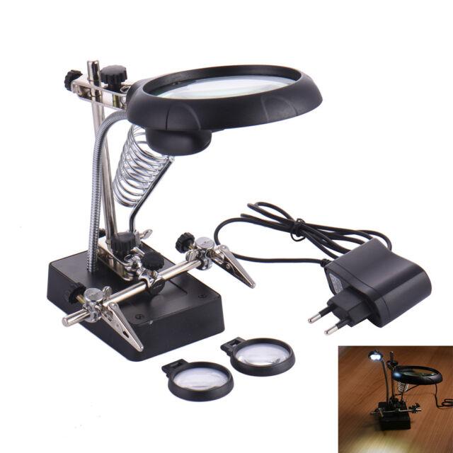 5led Light Desk Lamp Magnifier Desktop Magnifying Glass Adjule Support Clamp
