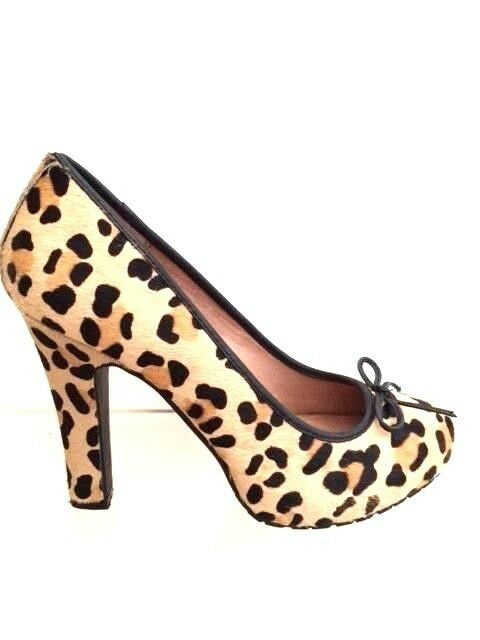 Topshop Pony-Hair Animal Print Platform Pumps 5 38 US7