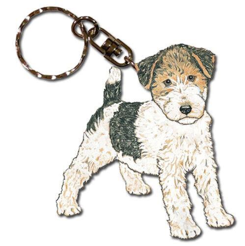 Wire Fox Terrier Wooden Keychain