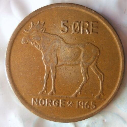 1965 NORWAY 5 ORE Excellent Vintage Coin FREE SHIPPING Norway Bin #4