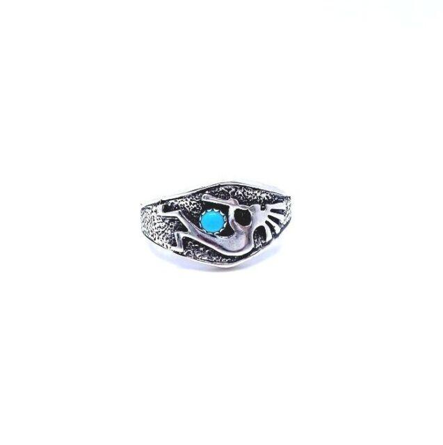 Navajo Handmade Sterling Silver Sleeping Beauty Turquoise Kokopelli Ring