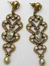 Vintage AVON Earrings w/ White Rhinestones Ornate Drop Evening Wear Gold Tone