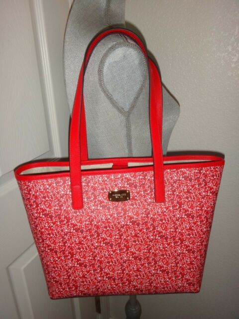 619522c11fe2 Michael Kors JET SET Floral SM MK Travel Tote Bag DK Sangria Red PVC Leather