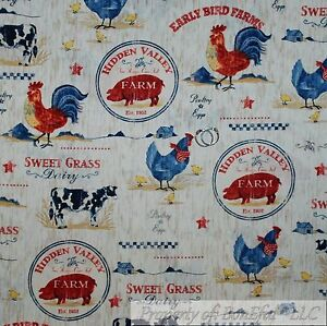 BonEful-Fabric-FQ-Cotton-Quilt-VTG-Brown-Wood-Grain-Farm-Cow-Pig-Hen-Red-Rooster