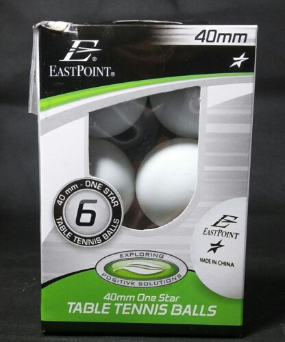 EastPoint 40mm Ping Pong Balls Package Of Six New Balls