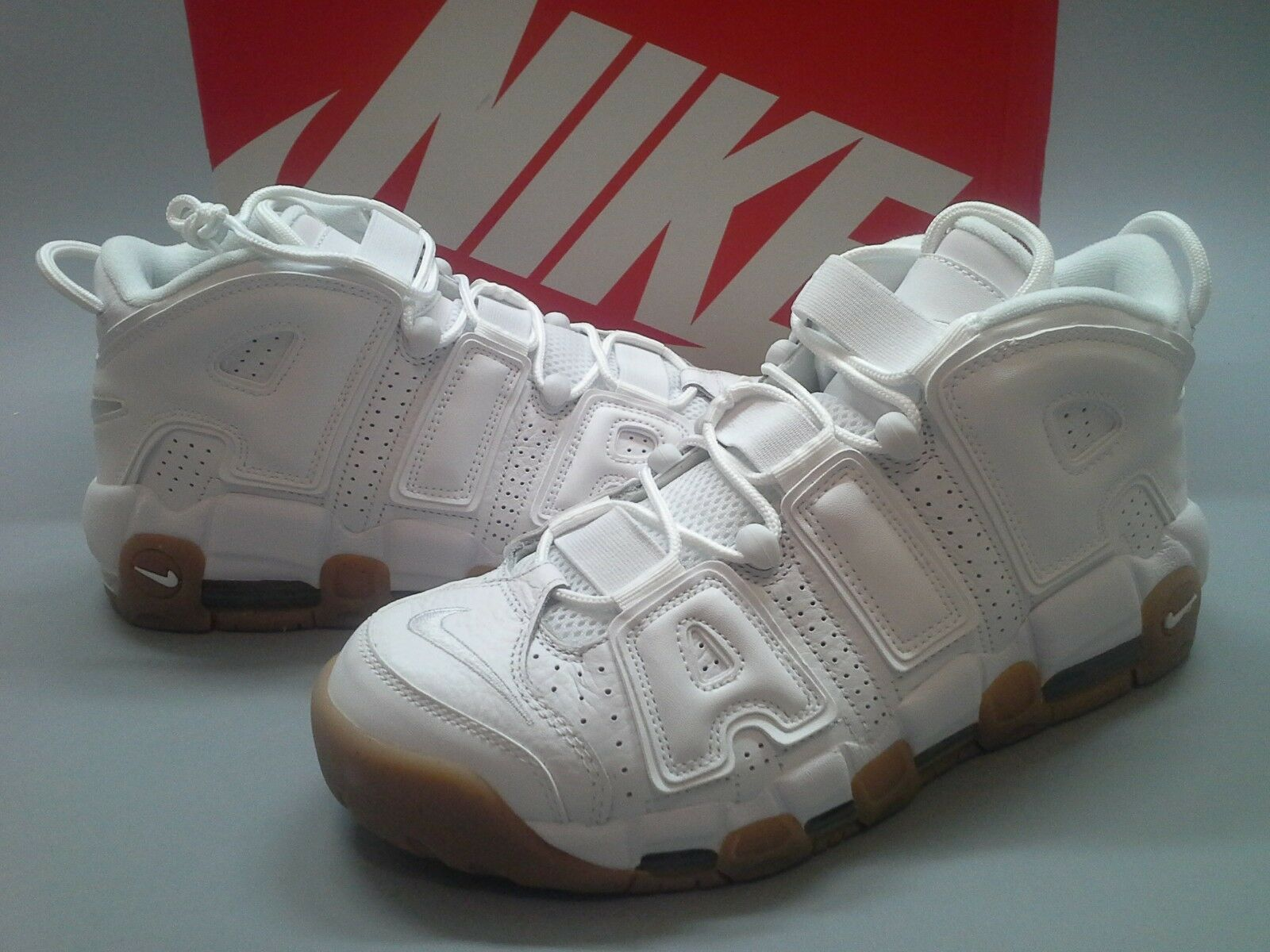 New Nike Air More Uptempo White Gum Bamboo 414962-103 Brown Pippen Bottom