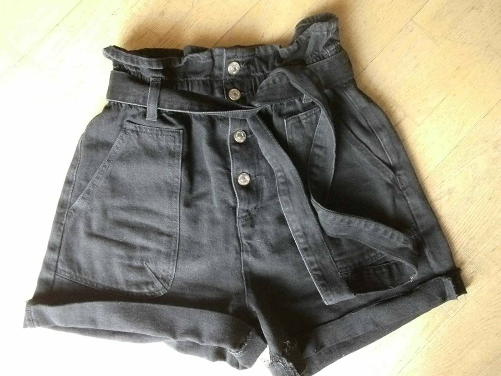 Zara Jeans Shorts Mom Jeans Loose Fit Denim 28 38 M Hose schwarz Hight Waist