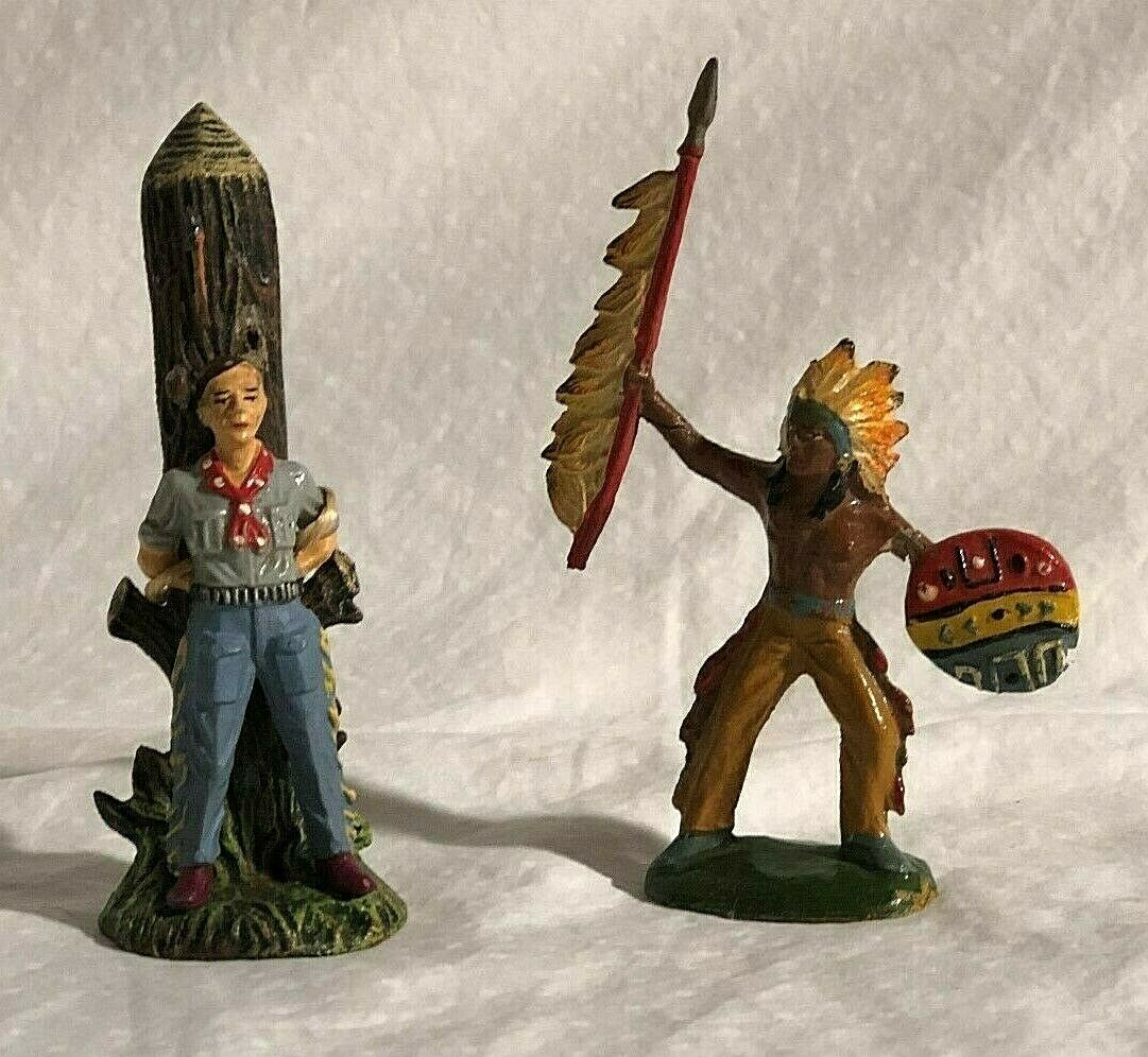 Elastolin Cowboy Tied Toy Tree and Tipple-Topple Indian Native American Dancing