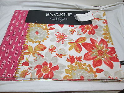 """New Envogue FLORAL Set of 4 Placemats 14/""""x19/"""" ~ Teal  Green and Gold Flowers NEW"""