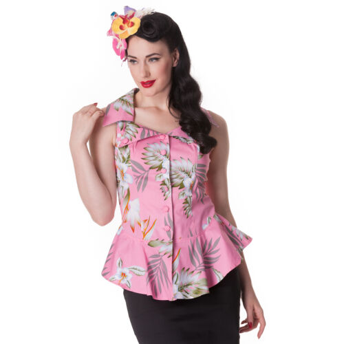 Hell Bunny NIOHA Tiki 50s Hawaiian Hibiscus Vintage Bluse Top Rockabilly