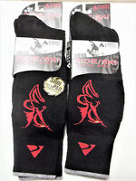 Cabot & Sons Ride/ski Merino Wool Socks With Shin Pads, Black With Red, X 2