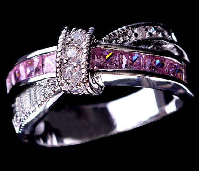 Pink Sapphire CZ Criss Cross Wedding Ring Women's 10KT White Gold Filled Sz 5-10