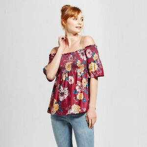 3903ae3ded0479 NEW Women s Smocked Off the Shoulder Top Xhilaration Size L ...