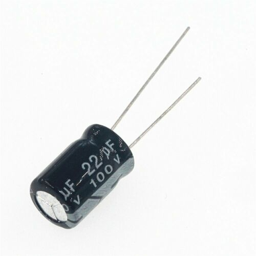 100pcs 22uf 100v 22mfd 100volt aluminum electrolytic capacitor 6mm×11mm radial