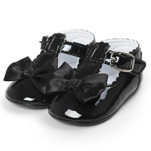 Baby Toddler Girls Princess Grib Shoe Leather Sole Sneaker Christening Pram SL