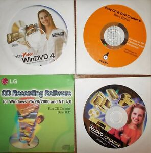 LOT-Software-Vintage-x-burn-and-Play-DVDs-and-CDs-LG-Roxio-InterVideo