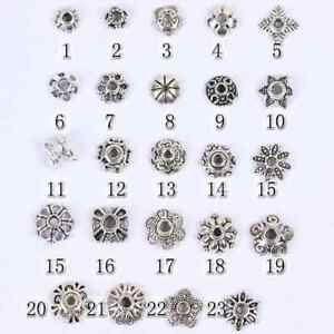 50Pcs Tibetan Silver Metal Flower Loose Spacer Beads Caps 6MM 8MM 10MM 12MM 14MM