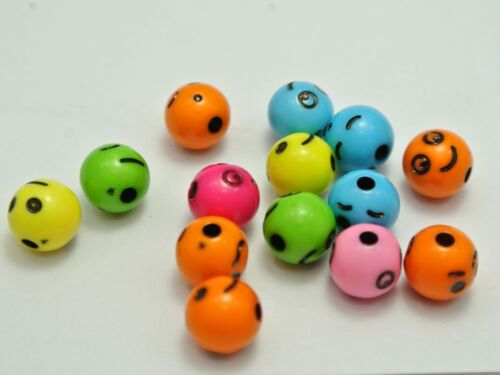 200 Mixed Color with Black Assorted Smile Face Round Beads 8mm