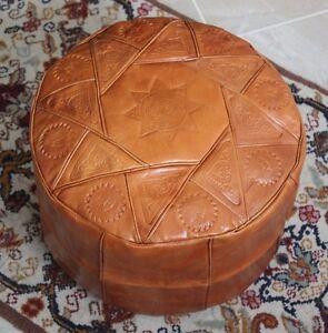 Camel Brown Handmade Moroccan Pouf Genuine Leather Pouffe Ottoman